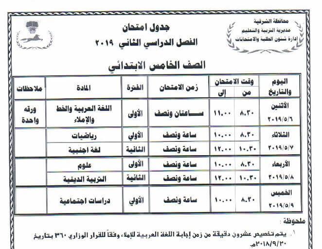 جدول امتحانات الصف الخامس الابتدائي الترم الثاني 2019 محافظة الشرقية
