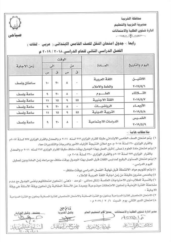 جدول امتحانات الصف الخامس الابتدائي الترم الثاني 2019 محافظة الغربية