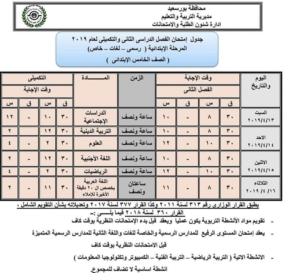 جدول امتحانات الصف الخامس الابتدائي الترم الثاني 2019 محافظة بورسعيد