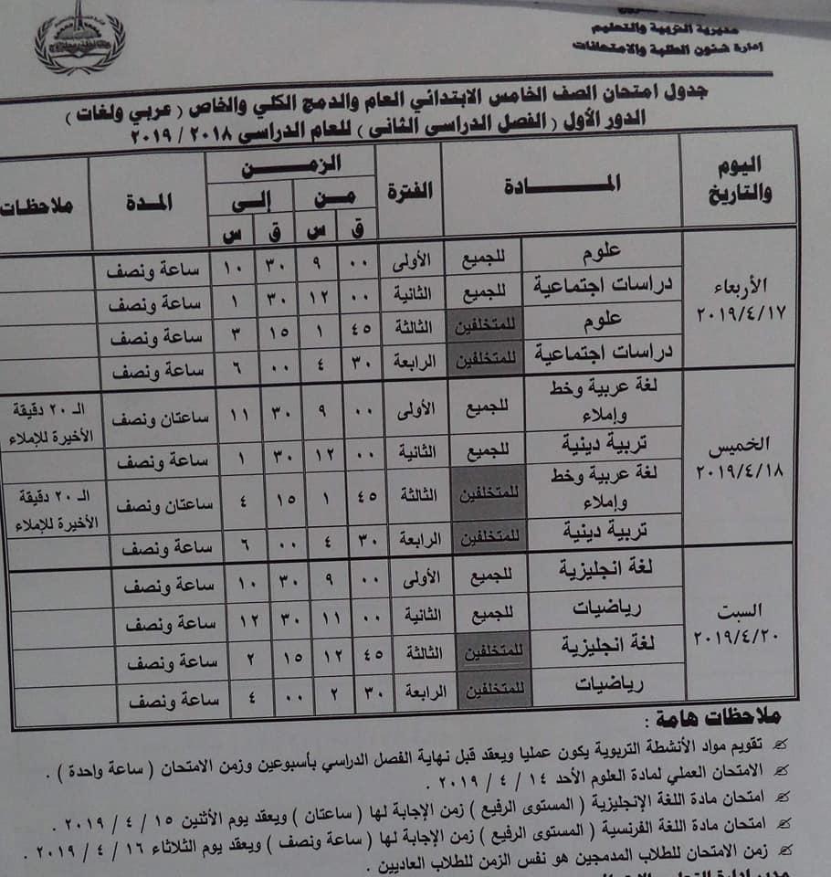 جدول امتحانات الصف الخامس الابتدائي الترم الثاني 2019 محافظة مطروح
