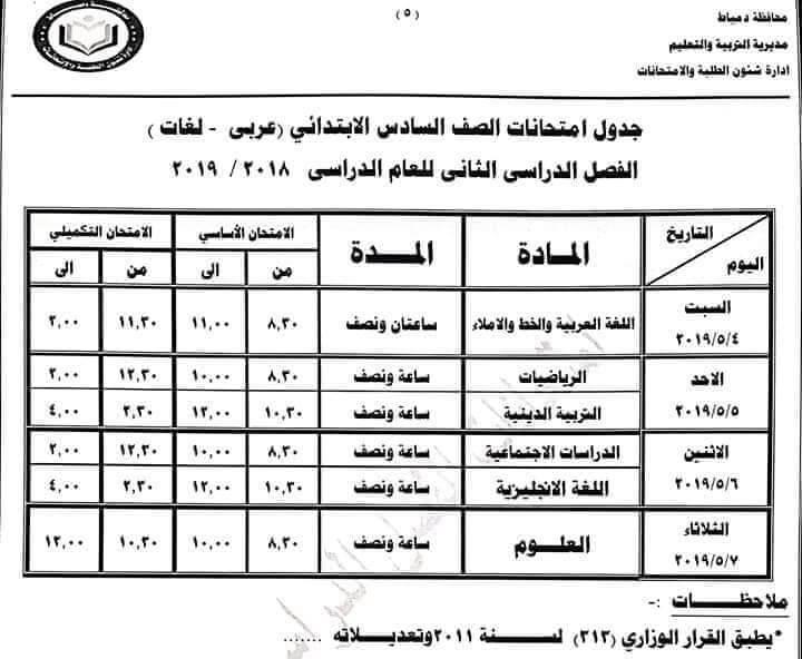 جدول امتحانات الصف السادس الابتدائي الترم الثاني 2019 محافظة دمياط