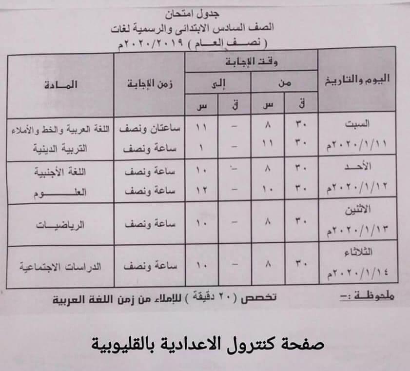 جدول امتحانات الصف السادس الابتدائي نصف العام محافظة القليوبية 2020 2