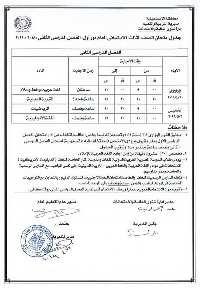 جدول امتحانات الصف الثالث الابتدائي الترم الثاني 2019 محافظة الاسماعيلية