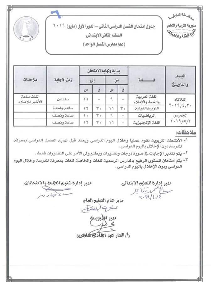 جدول امتحانات الصف الثاني الابتدائي الترم الثاني 2019 محافظة المنوفية