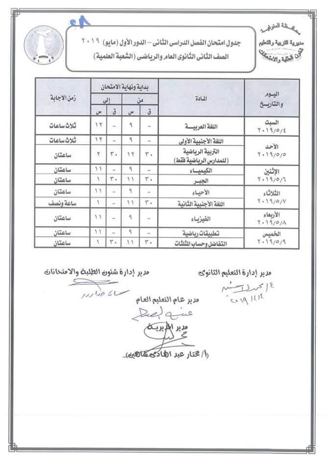 جدول امتحانات الصف الثاني الثانوي الترم الثاني علمي 2019 محافظة المنوفية