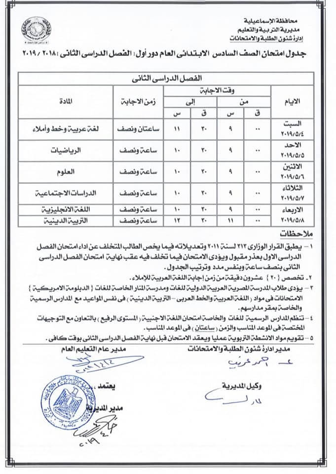 جدول امتحانات الصف السادس الابتدائي الترم الثاني 2019 محافظة الاسماعيلية