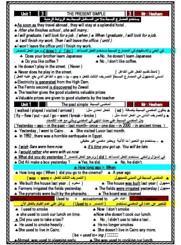 مذكرة لغة انجليزية للصف الأول الثانوي الترم الأول