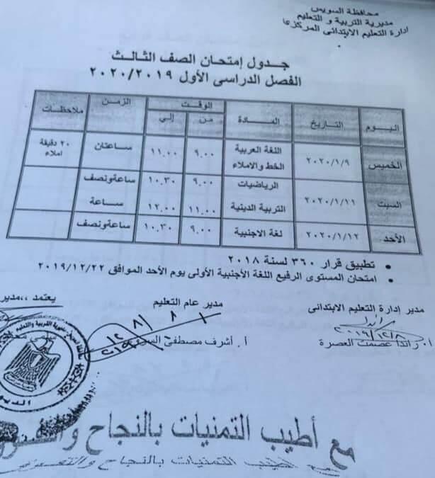 جدول امتحانات الصف الثالث الابتدائي نصف العام محافظة السويس 2020