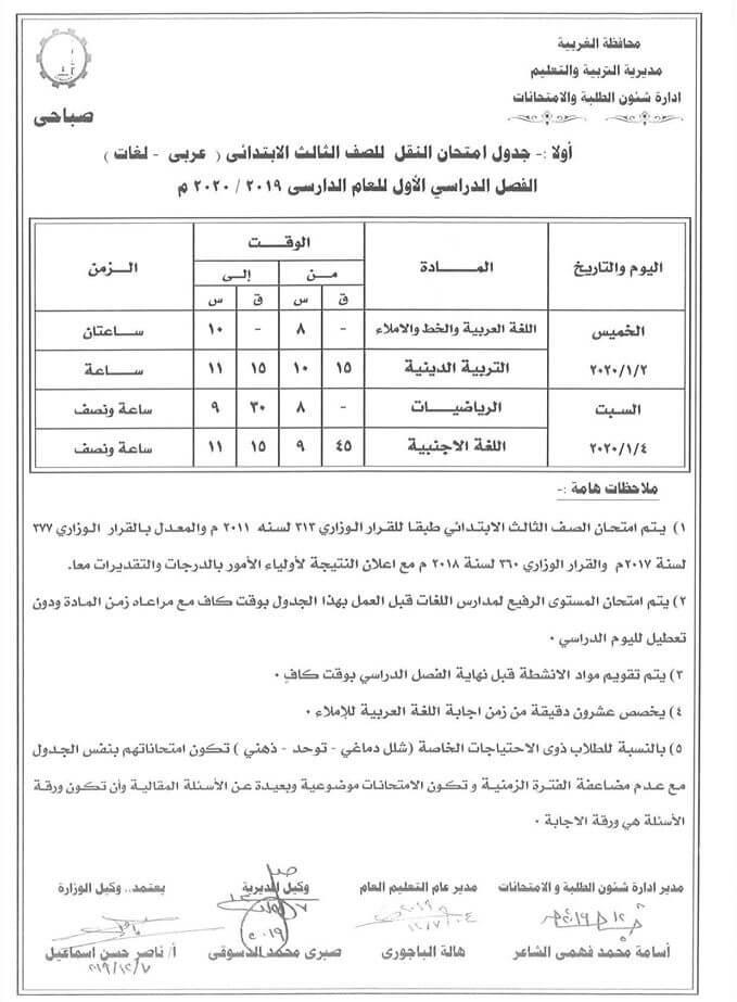 جدول امتحانات الصف الثالث الابتدائي نصف العام محافظة الغربية 2020 1