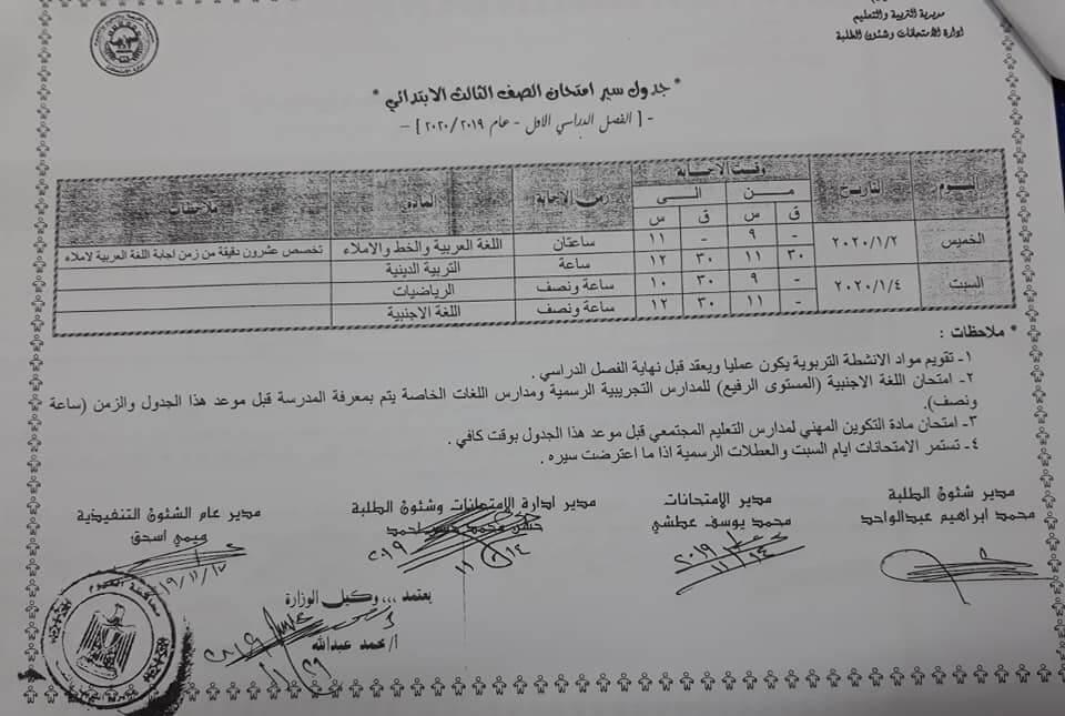 جدول امتحانات الصف الثالث الابتدائي نصف العام محافظة الفيوم 2020