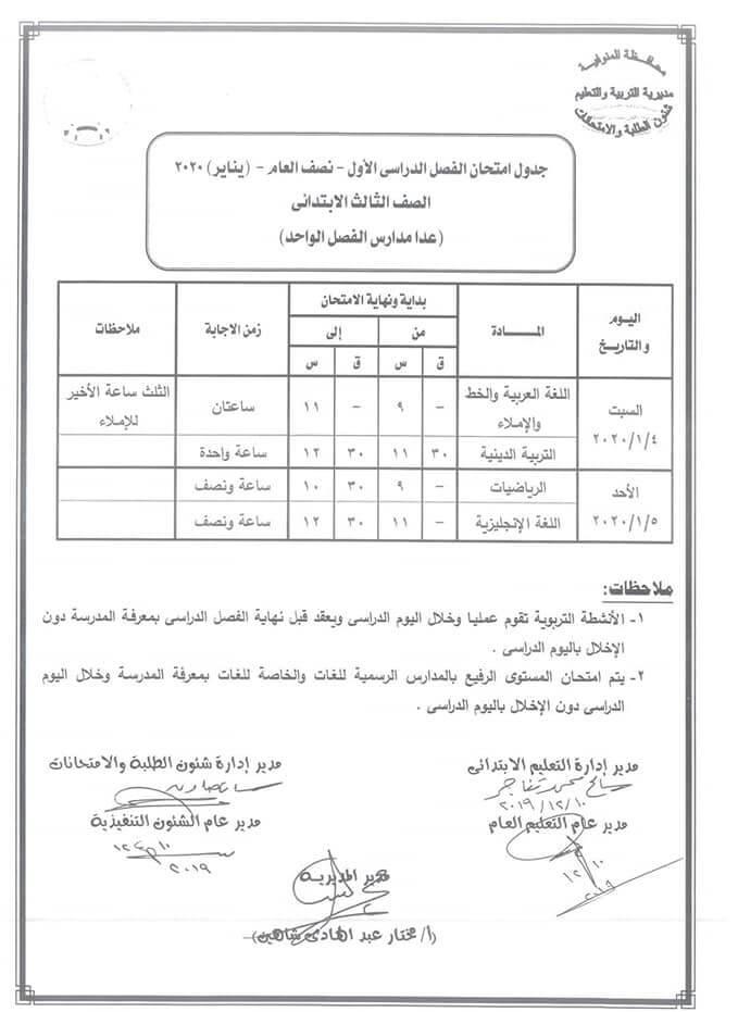 جدول امتحانات الصف الثالث الابتدائي نصف العام محافظة المنوفية 2020