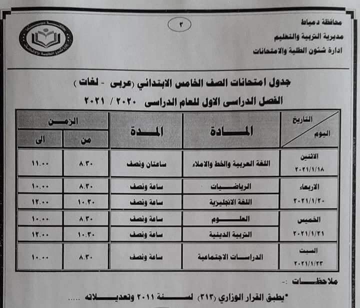 جدول امتحانات الصف الخامس الابتدائي نصف العام محافظة دمياط 2021