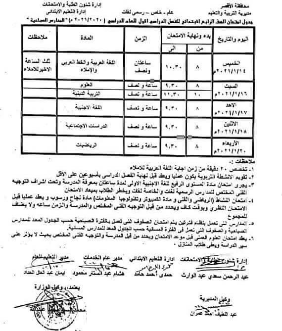 جدول امتحانات الصف الرابع الابتدائي نصف العام محافظة الاقصر 2021