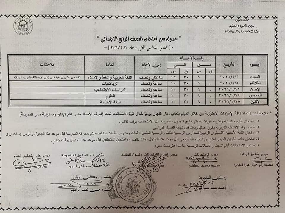 جدول امتحانات الصف الرابع الابتدائي نصف العام محافظة الفيوم 2021
