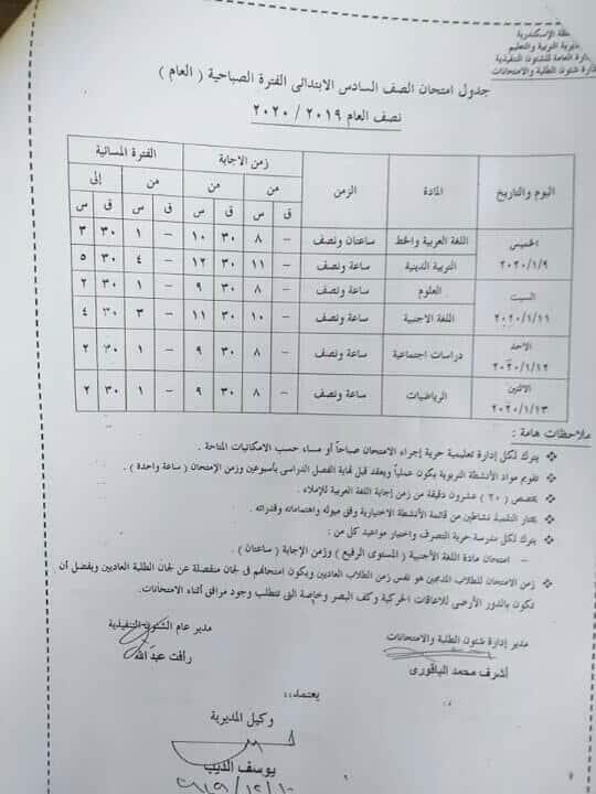 جدول امتحانات الصف السادس الابتدائي نصف العام محافظة الاسكندرية 2020
