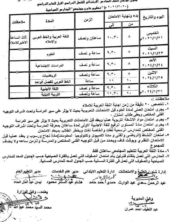 جدول امتحانات الصف السادس الابتدائي نصف العام محافظة الاقصر 2021