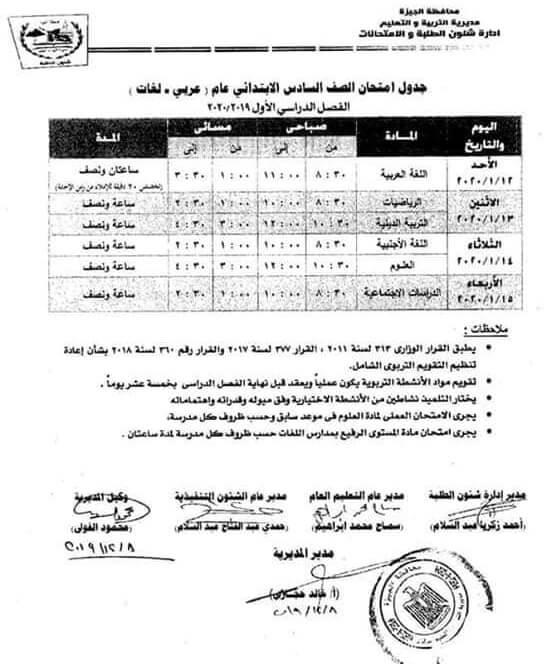 جدول امتحانات الصف السادس الابتدائي نصف العام محافظة الجيزة 2020