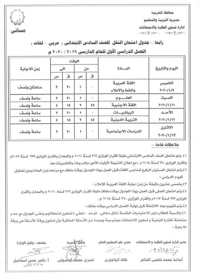 جدول امتحانات الصف السادس الابتدائي نصف العام محافظة الغربية 2020 2