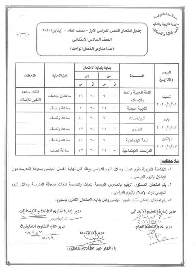 جدول امتحانات الصف السادس الابتدائي نصف العام محافظة المنوفية 2020