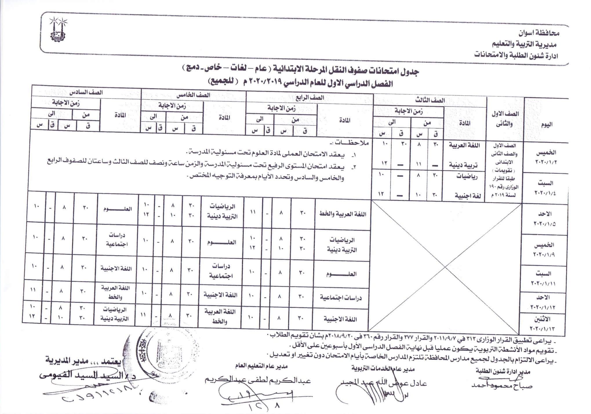 جدول امتحانات المرحلة الابتدائية نصف العام محافظة اسوان 2020
