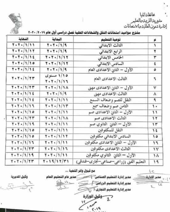 جدول امتحانات نصف العام محافظة المنيا 2020