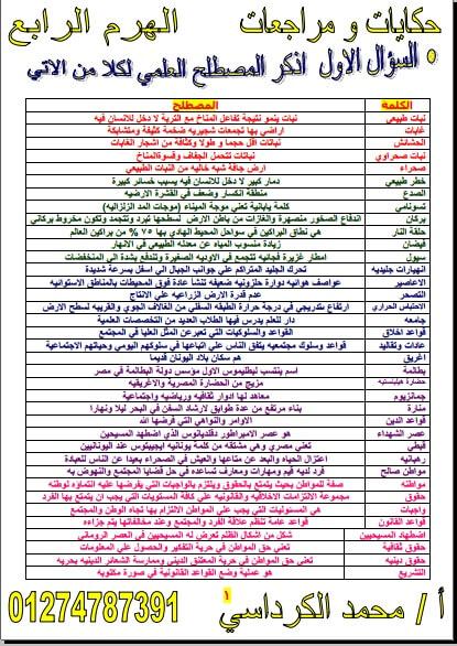 مراجعة ليلة الامتحان دراسات للصف الاول الاعدادي الترم الثاني