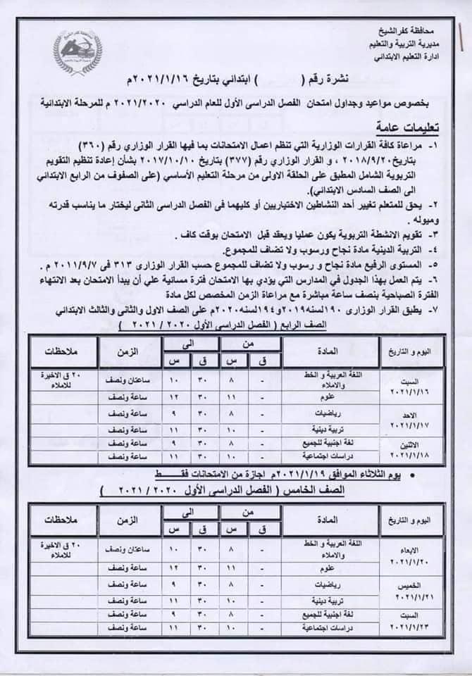جدول امتحانات الصفين الرابع والخامس الابتدائي نصف العام محافظة كفر الشيخ 2021