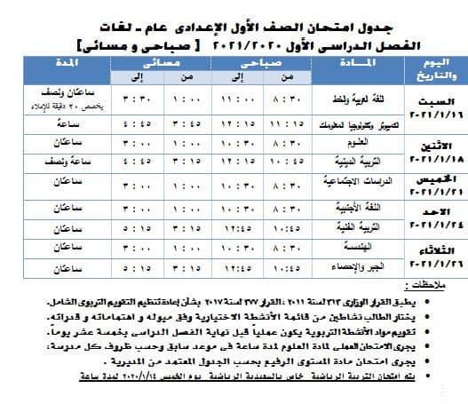 جدول امتحانات الصف الأول الاعدادي نصف العام محافظة الجيزة 2021