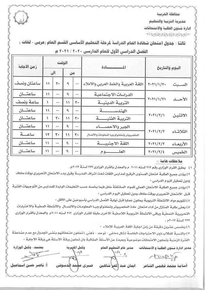 جدول امتحانات الصف الثالث الاعدادي نصف العام محافظة الغربية 2021