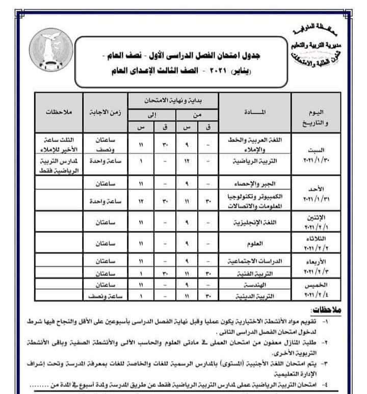جدول امتحانات الصف الثالث الاعدادي نصف العام محافظة المنوفية 2021
