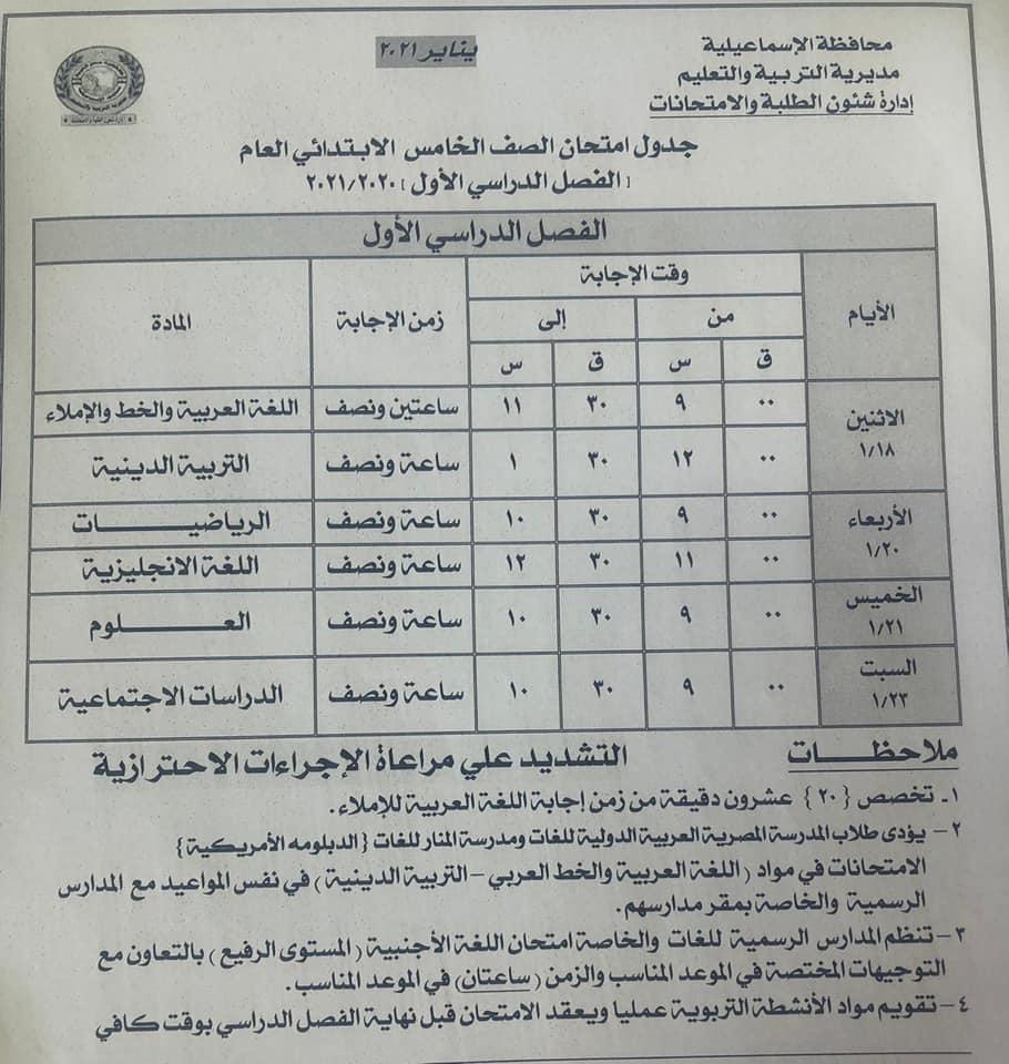 جدول امتحانات الصف الخامس الابتدائي نصف العام محافظة الاسماعيلية 2021