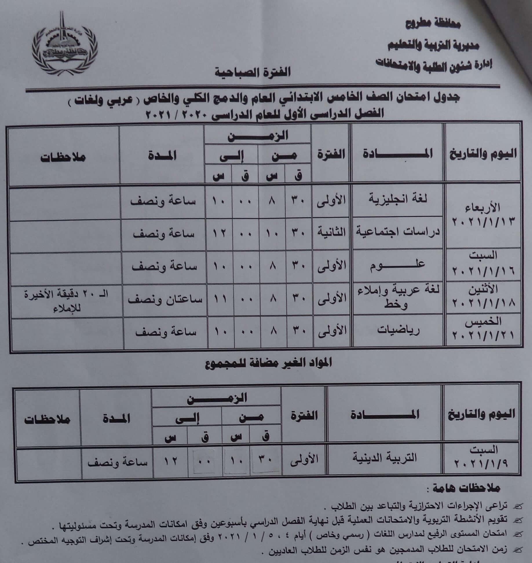 جدول امتحانات الصف الخامس الابتدائي نصف العام محافظة مطروح 2021 1