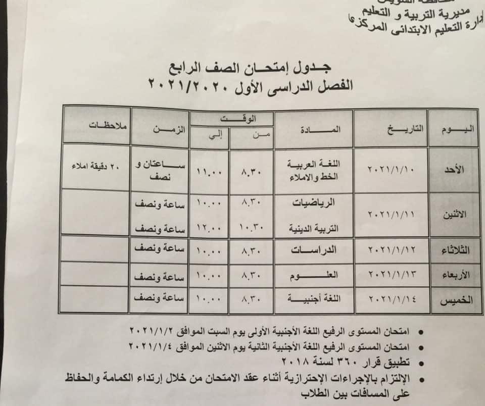 جدول امتحانات الصف الرابع الابتدائي نصف العام محافظة السويس 2021