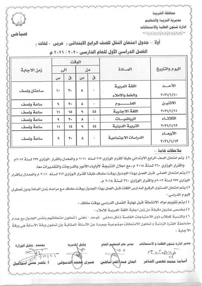 جدول امتحانات الصف الرابع الابتدائي نصف العام محافظة الغربية 2021 1