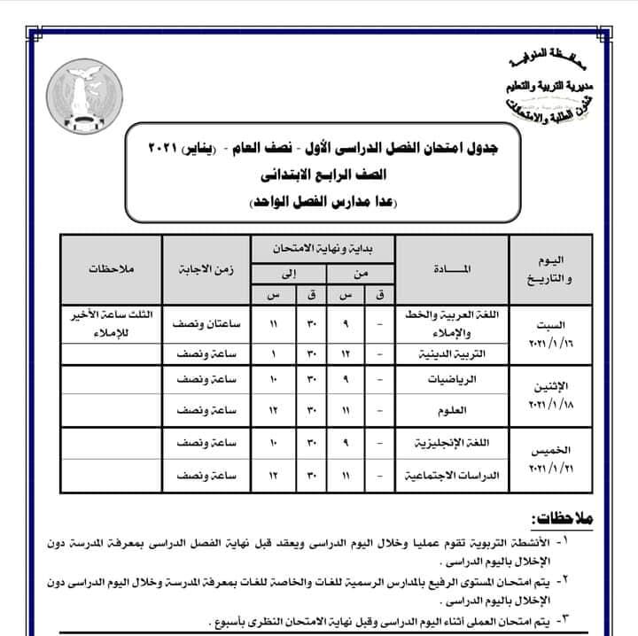 جدول امتحانات الصف الرابع الابتدائي نصف العام محافظة المنوفية 2021