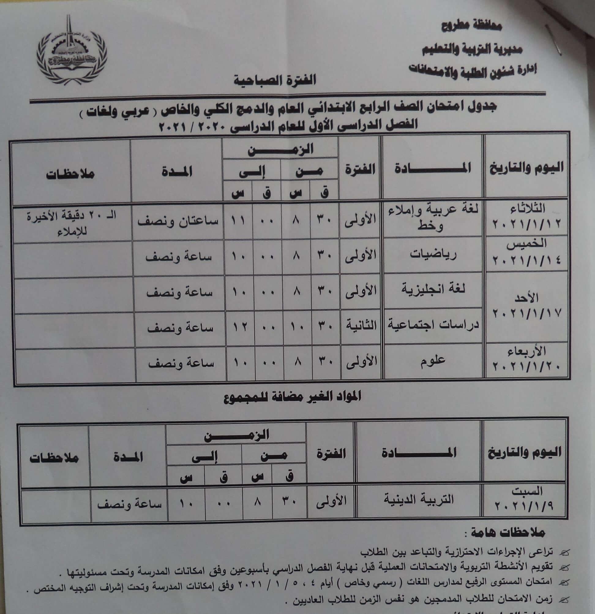 جدول امتحانات الصف الرابع الابتدائي نصف العام محافظة مطروح 2021 1