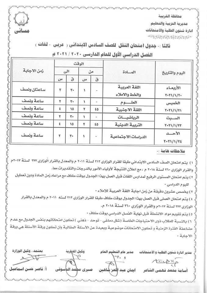 جدول امتحانات الصف السادس الابتدائي نصف العام محافظة الغربية 2021 2