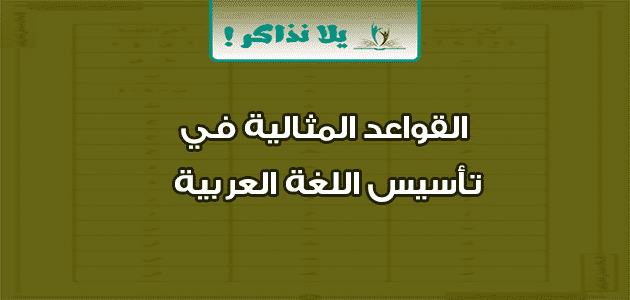 القواعد المثالية في تأسيس اللغة العربية